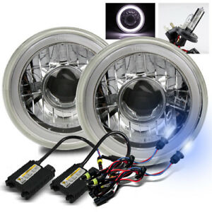 7 Round White Smd 3d Halo Ring Crystal Projector Headlights 8000k H4 2 Hid Kit
