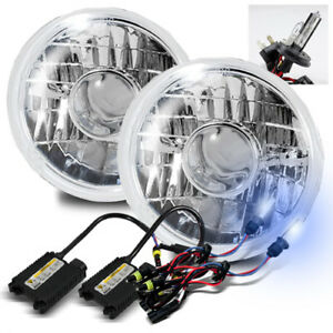 7 Round Glass Lens Diamond Crystal Projector Headlights Lamps 8000k H4 2 Hid