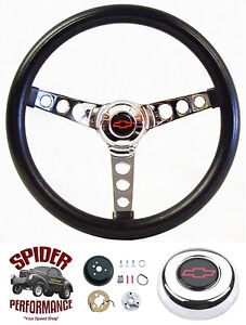 1988 94 Chevy Truck Blazer Sub Steering Wheel Red Bowtie 13 1 2 Classic Chrome