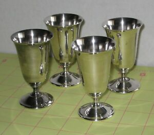 Vintage Silver Plated De Uberti Italy Set Of 4 Cordial Cups