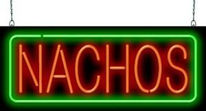 Nachos Neon Sign Jantec 2 Sizes Mexican Chips Cheese Real Neon