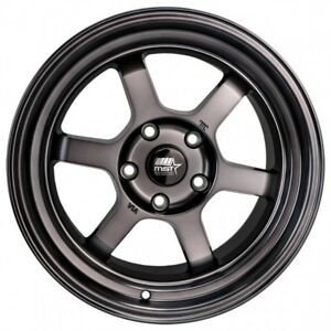 Mst Wheels Time Attack Rims 16x8 Smoke Gray 5x4 5 94 98 99 04 Ford Mustang V6 Gt