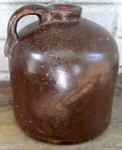 Antique Redware Stoneware Jug Pleasing Shape