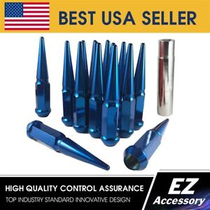 20 Pc Solid Steel Spike Lug Nuts Kit Blue 12x1 5 For Lexus Scion With Key