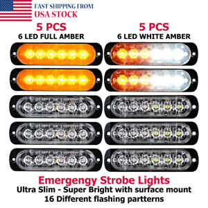 10x Amber White 6 Led Warning Caution Strobe Flashing Light Truck Car Set Dc 12v