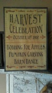 Primitive Wooden Sign Harvest Celebration Tavern Sign Awesome Antiques White