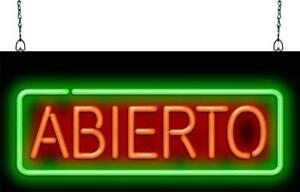Abierto Neon Sign Jantec 3 Sizes Spanish Open Ethnic Free Shipping