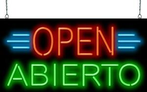 Open Abierto Neon Sign Jantec 2 Sizes Ethnic Spanish Free Shipping
