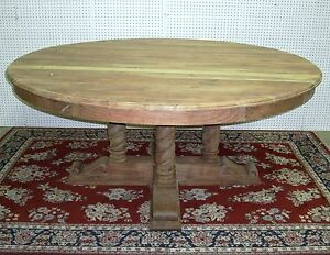 Antique Style 72 Round Barley Twist Hardwood Dining Entry Table Country French