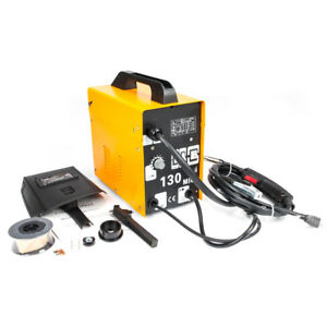 Mig 130 110v Flux Core Wire Welder Welding Machine Automatic Feed Yellow Durable