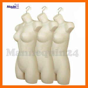 3 Female Mannequin Torsos Plastic Women s Hanging Dress Forms