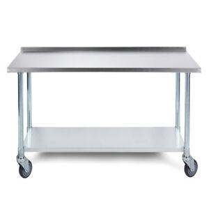 Commercial Home Kitchen Work Prep Table W Caster Wheels 36 X 24 18 Gauge