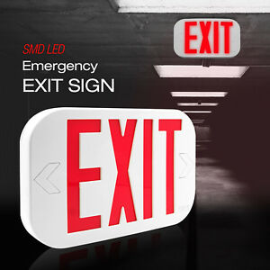 All Led Exit Sign Emergency Light Combo Battery Back up Red Ni cd