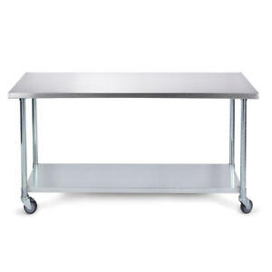 60 X 24 18 Gauge Undershelf Storage Commerical Work Prep Table Stainless Steel