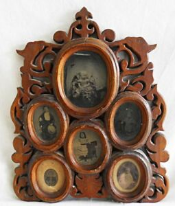 Antique Tintype Photograph Display Frame Carved Fancy Carved Folk Art Victorian