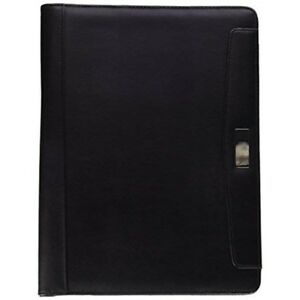 Alassio Conference Folder Writing Case With Pad Leather look A4 Black Ref 96086