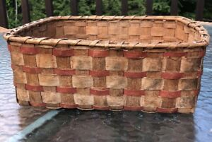 Old Vintage Antique Handmade Primitive Woven Picking Basket Red