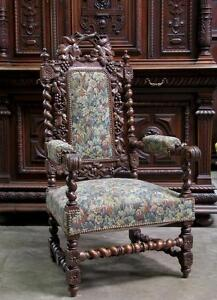 Antique French Renaissance Carved Oak Hunt Arm Chair