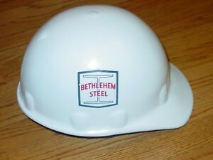 Vintage Bethlehem Steel Hard Hat Construction Spc White Fibre Metal