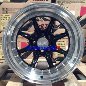Xxr 002 5 Wheels 15x8 0 Black Rims Deep Lip 4x100 Hellaflush 02 Honda Civic Si