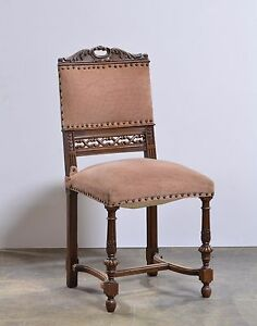 Set Of 6 Antique French Carved Renaissance Side Chairs