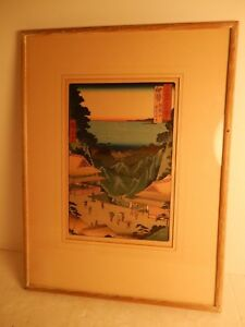 Vintage Framd Hiroshige Japanese Woodblock Print Teahouses On The Mountain Pass