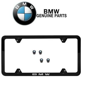 New For Bmw Black Slimline License Plate Frame Roundel Valve Caps Set Genuine