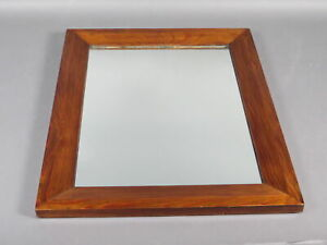 Vintage Solid Cherry Wood Beveled Frame W Glass Mirror Arts Crafts Mission