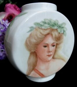 Vintage Hand Painted Porcelain Portrait Signed Squat Vase Kpm Royal Porzellen