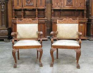 Pair Of Large Antique German Carved Arm Chairs