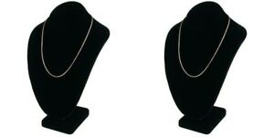 2 Pcs Black Velvet Necklace Bust Showcase Jewelry Display 11