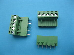 100 Pcs 5 08mm Straight 5 Way pin Screw Terminal Block Connector Green Pluggable