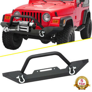 Textured Front Bumper W Winch Plate D Rings For 1987 2006 Jeep Wrangler Tj Yj