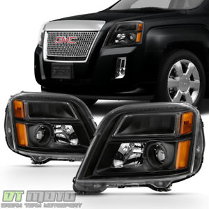 Black 2010 2015 Gmc Terrain Headlights Headlamps Light Left Right 10 11 12 13 15
