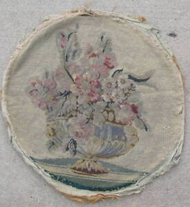 Antique 18c 19c Needlepoint Petit Point Panel Floral Flower Basket 20x19