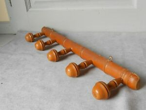 French Vintage Wood Coat Hat Rack W 5 Pegs Faux Bamboo Style