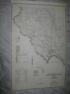 Huge Rare Antique 1956 Okeechobee County Florida Map Detailed Lightly Settled Nr