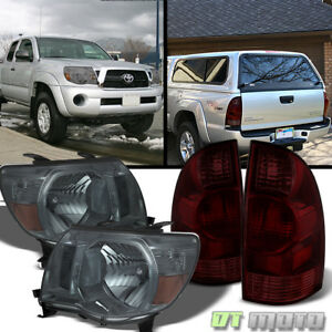 For Replacement 2005 2008 Toyota Tacoma Smoke Headlights Tail Brake Lights Lamps