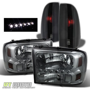 Fits1999 2004 Ford F250 F350 Superduty Led Headlights black Smoke Tail Lamps