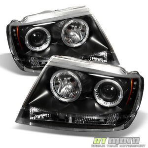Black 99 04 Jeep Grand Cherokee Ccfl Halo Projector Led Headlights Left right
