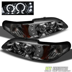 Smoked 1994 1998 Ford Mustang Led Dual Halo Projector Headlights Lamp Left Right