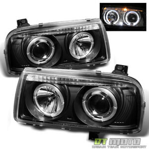 Black 1993 1998 Vw Jetta Led Dual Halo Projector Headlights Headlamps Left right