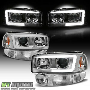 Chrome 2001 2006 Gmc Sierra Yukon Denali Led Tube Headlights Bumper Signal Lamps