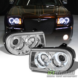 2005 2010 Chrysler 300c Led Ccfl Halo Projector Headlights Headlamps Left Right