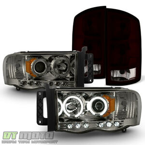 2002 2005 Dodge Ram Pickup Led Halo Projector Headlights Red Smoked Tail Lights