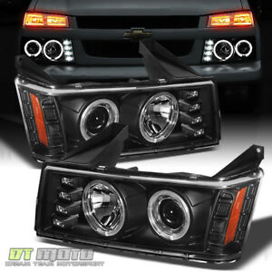 Black 2004 2012 Chevy Colorado Gmc Canyon Led Dual Halo Drl Projector Headlights