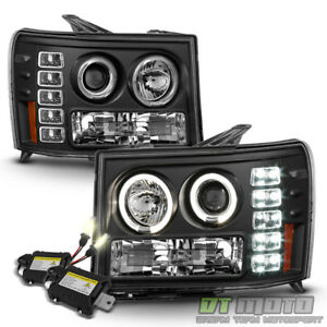 2007 2013 Gmc Sierra 1500 Black Led Halo Projector Headlights 4300k Slim Hid Set