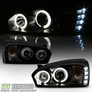 Black Smoke 2004 2007 Chevy Malibu Led Drl Halo Projector Headlights Headlamps