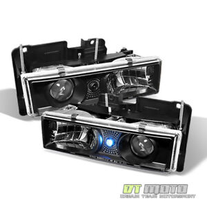 Black Fits 1988 1998 Chevy Gmc C K Pickup Truck Led Projector Headlights Pair