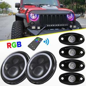 For Jeep Wrangler Jk 7 Led Headlights Rgb Angel Eyes Halo Ring 4x Rock Lights